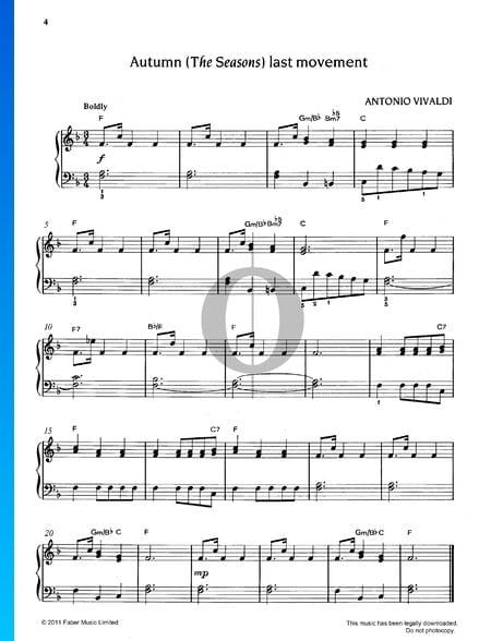 El otoño (L'autunno), Op. 8, RV 293: 3. Allegro Partitura