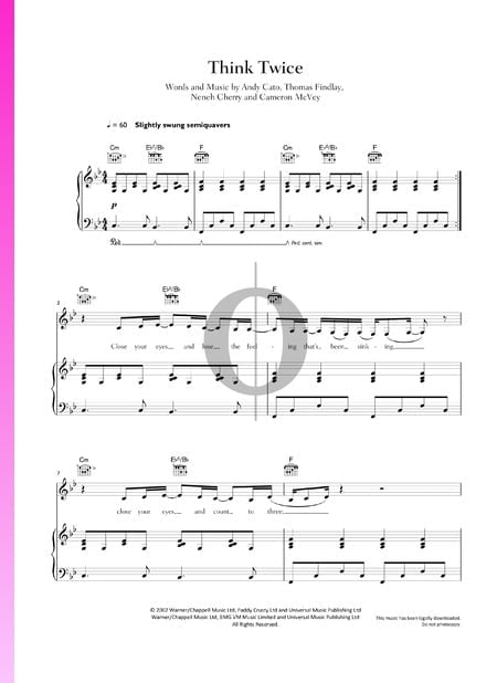 Think Twice Sheet Music