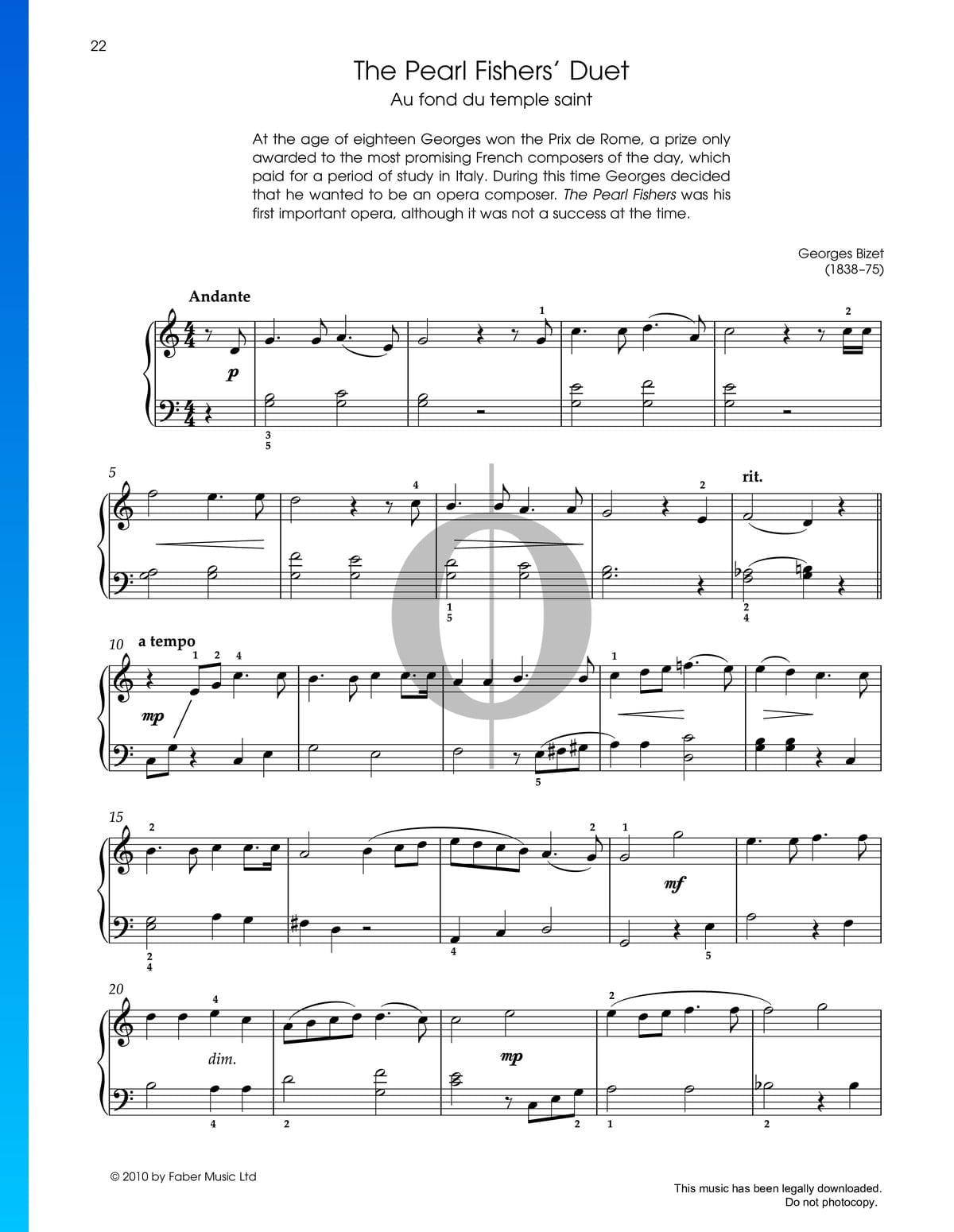 The Pearl Fishers Duet Sheet Music Piano Solo Pdf