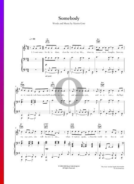 Somebody Musik-Noten