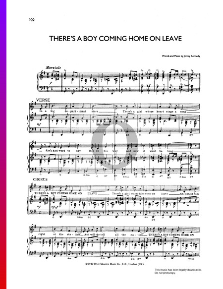 There's A Boy Coming Home On Leave Sheet Music
