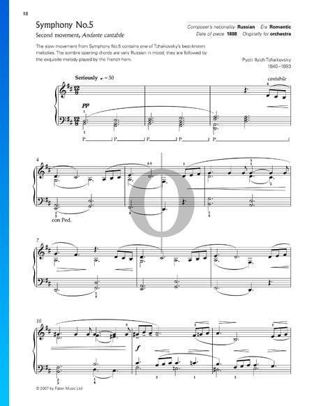 Sinfonie Nr. 5 in e-Moll, Op. 64: Andante cantabile Musik-Noten