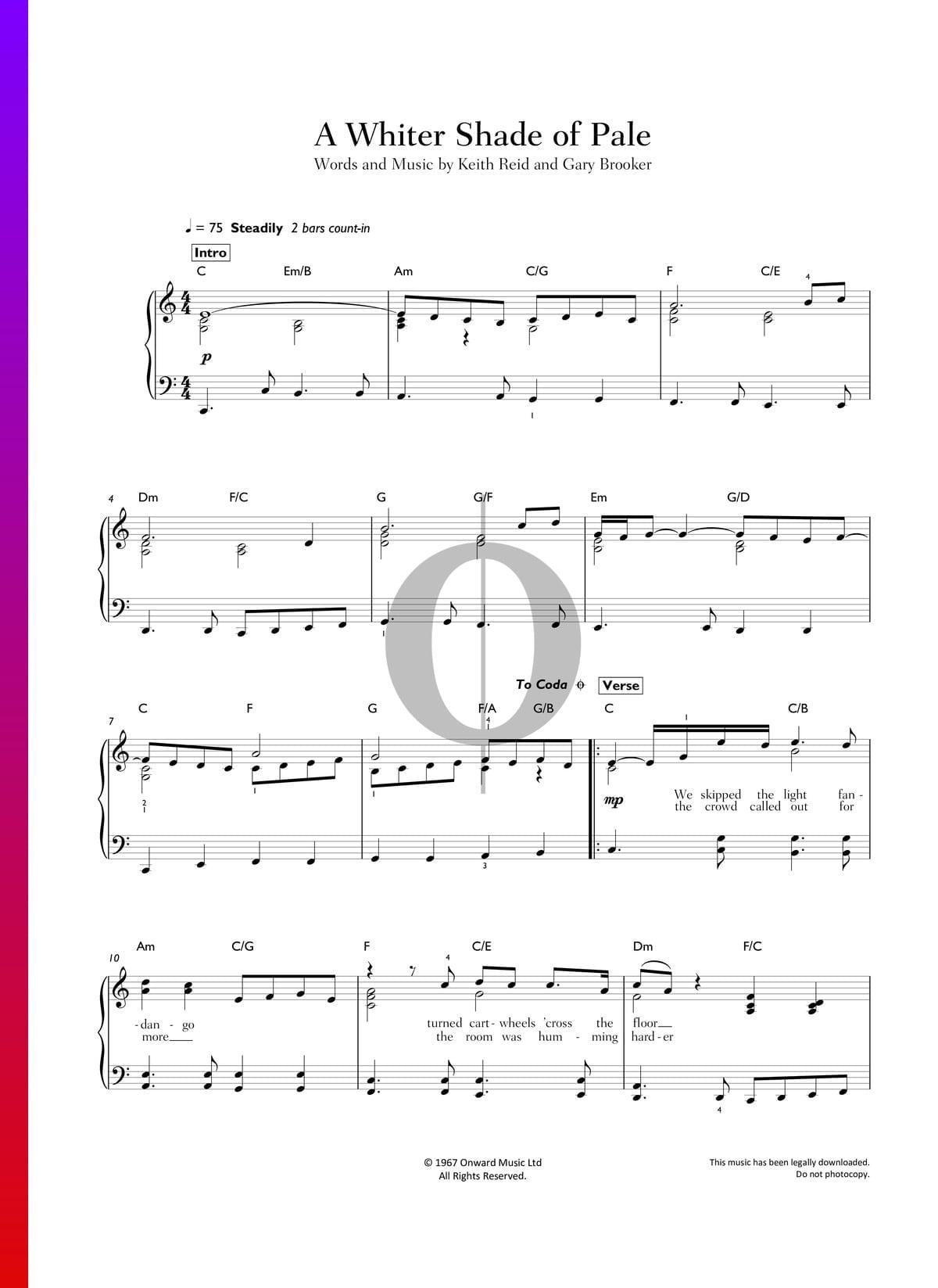 A Whiter Shade Of Pale Piano Sheet Music Pdf   Best Music Sheet