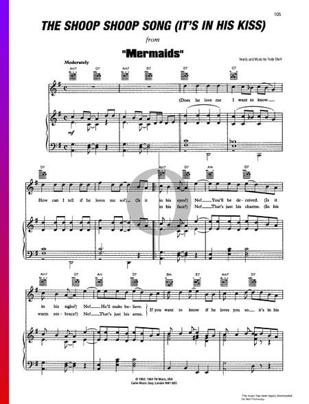 It's In His Kiss (The Shoop Shoop Song) Sheet Music