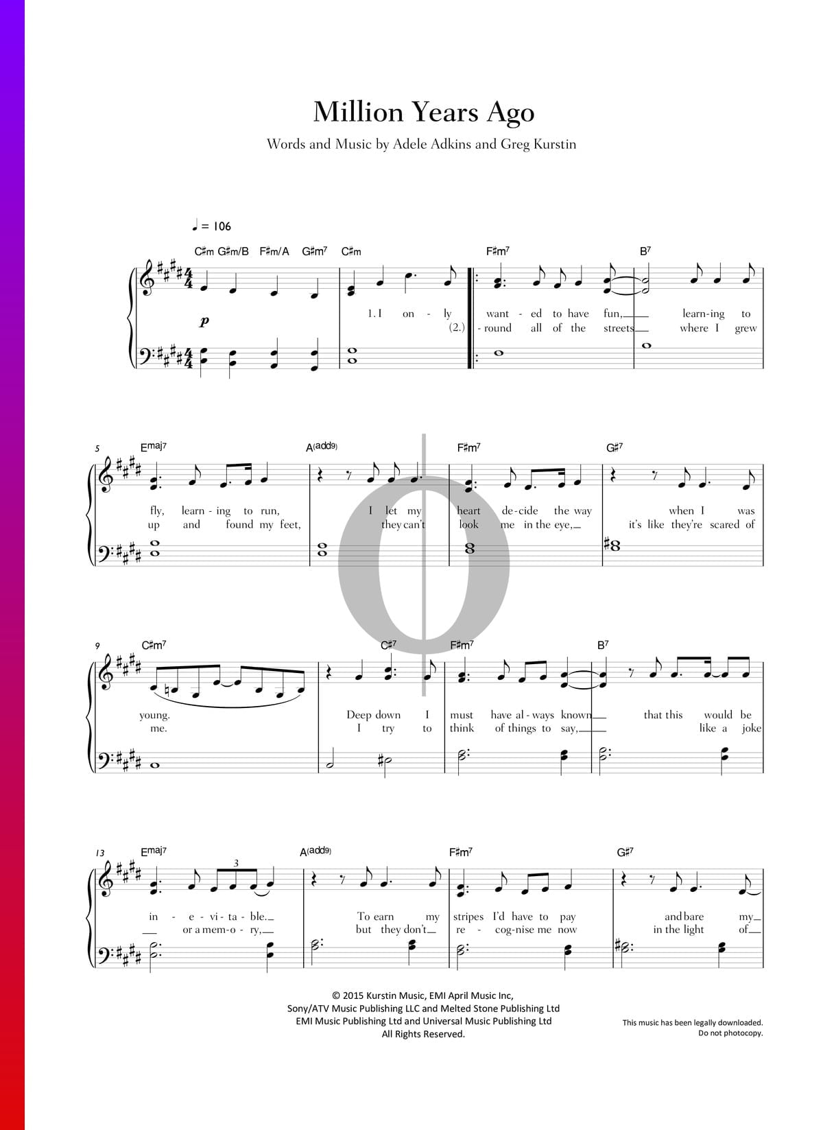 Million Years Ago Sheet Music Piano Voice Guitar