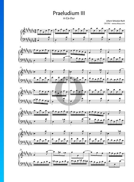 Praeludium 3 Cis-Dur, BWV 848 Musik-Noten