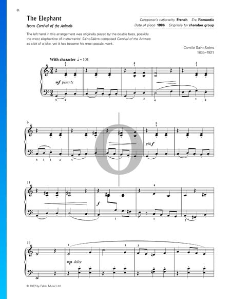 The Carnival Of The Animals: The Elephant Sheet Music
