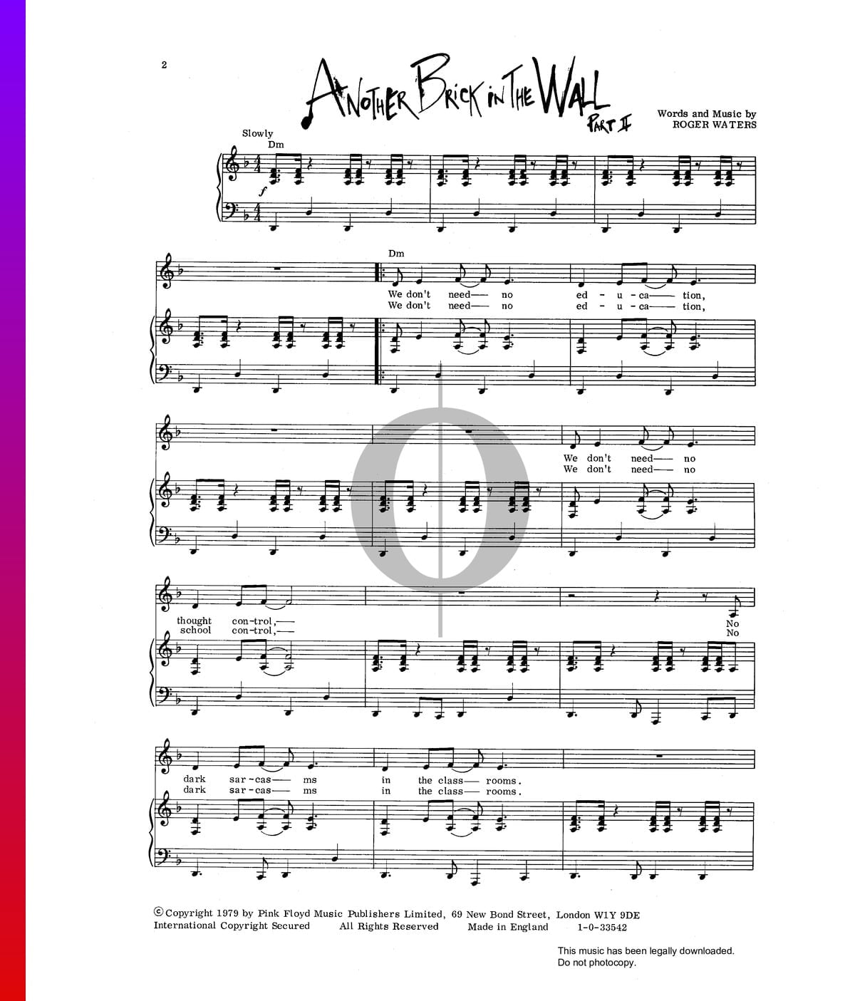 ▷ Another Brick In The Wall Sheet Music (Piano, Voice