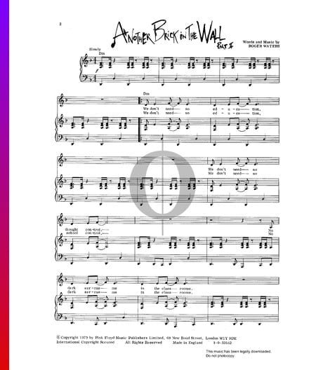 Another Brick In The Wall Sheet Music