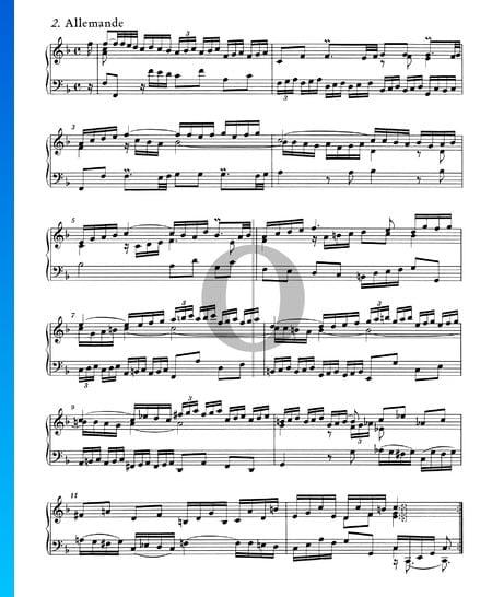 English Suite No. 4 F Major, BWV 809: 2. Allemande Sheet Music