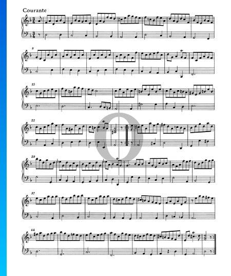 Suite en re menor, HWV 448: 3. Courante Partitura