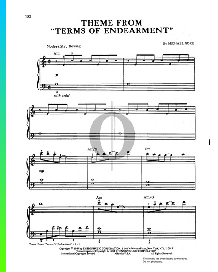 Terms Of Endearment Theme Musik-Noten