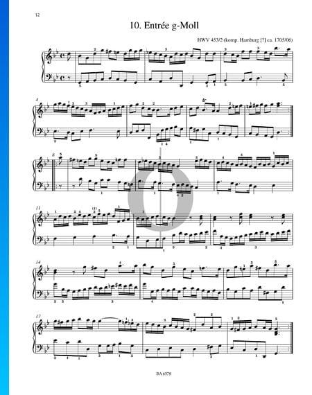 Entrée G Minor, HWV 453/2 Sheet Music