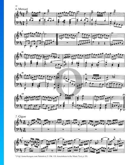 Partita 4, BWV 828: 6. Menuet Partition