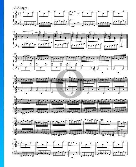 Concerto in F-Dur, BWV 978: 3. Allegro Musik-Noten