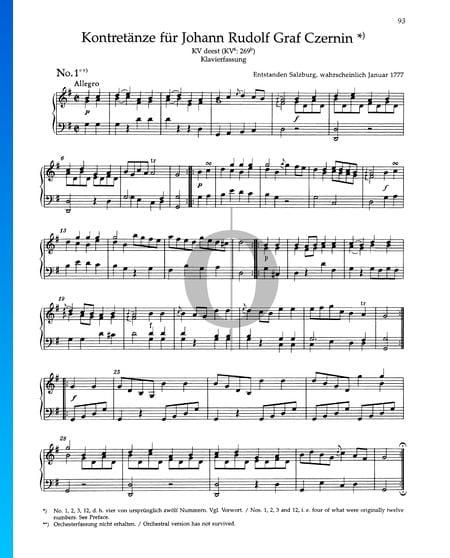 Kontretänze für Johann Rudolf Graf Czernin, KV 269b Musik-Noten