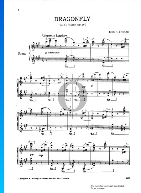 Water Pieces: No. 3 Dragonfly Sheet Music