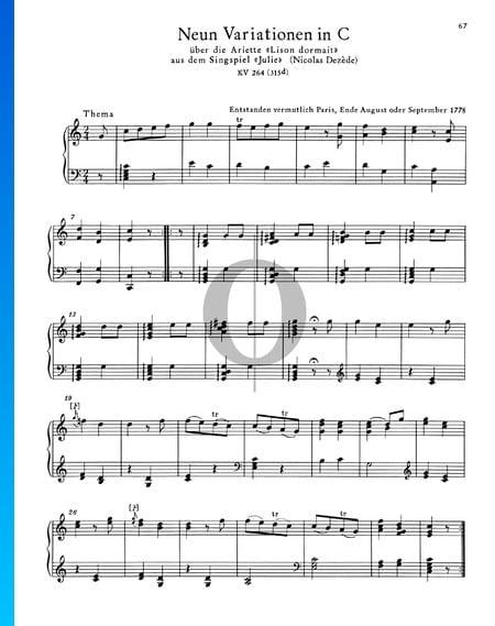 9 variaciones en do mayor, KV 264 (315d) Partitura