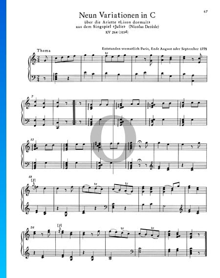 9 Variations in C Major, KV 264 (315d) Sheet Music