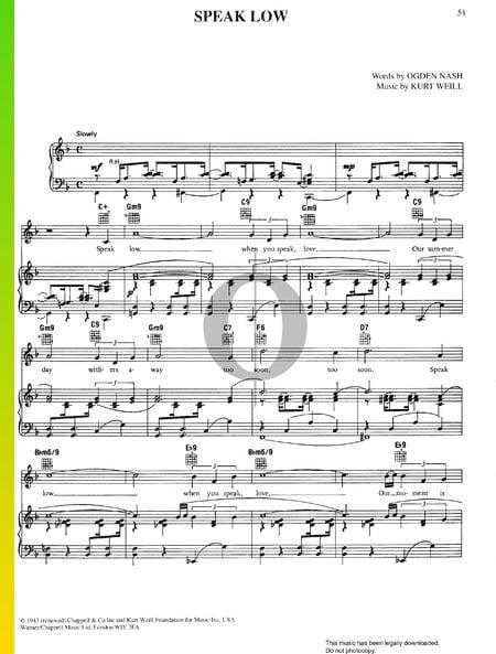 Speak Low Musik-Noten