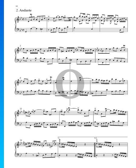 Suite No. 7 G Minor, HWV 432: 2. Andante Sheet Music
