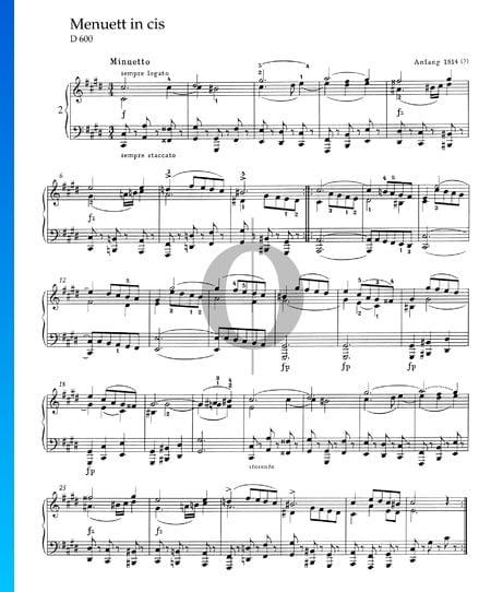 Menuett in cis-Moll, D 600 Musik-Noten