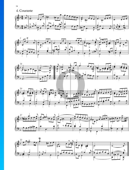 Suite n.º 3 en re menor, HWV 428: 4. Courante Partitura