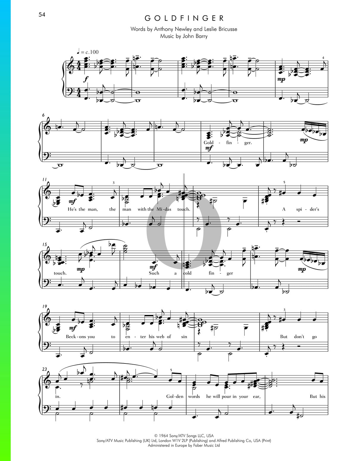 ▷ Goldfinger Sheet Music (Piano, Voice) - PDF Download