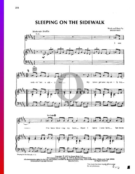 Sleeping On The Sidewalk Sheet Music