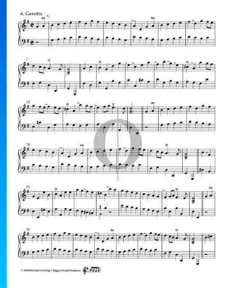 Suite en sol mayor, HWV 441: 6. Gavota con variaciones Partitura