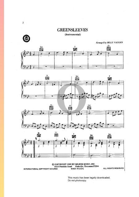 Greensleeves Musik-Noten