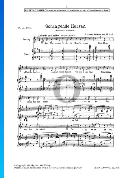 Schlagende Herzen (Longing Hearts), Op. 29 No. 2 Sheet Music