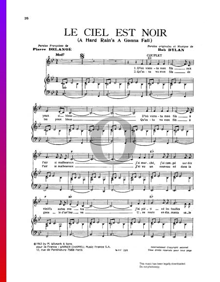 Le Ciel Est Noir (A Hard Rain's A Gonna Fall) Sheet Music