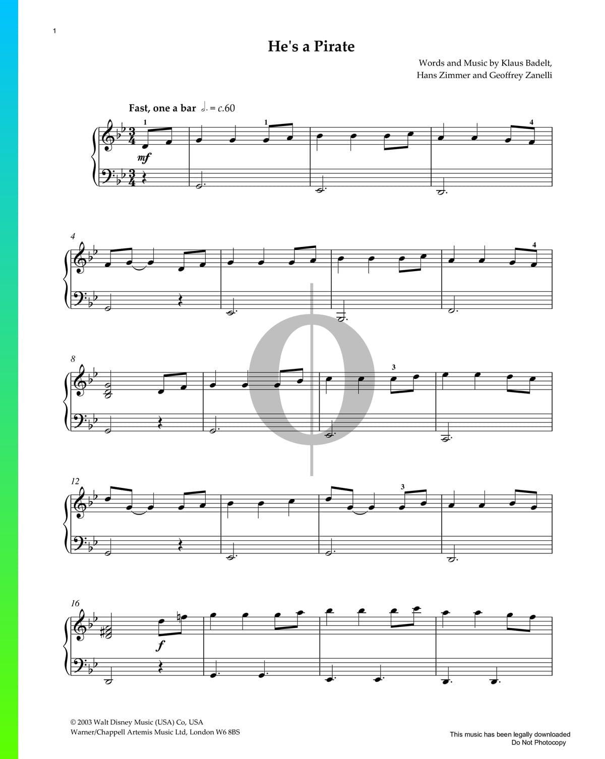 ▷ He's A Pirate Sheet Music (Piano Solo) - PDF Download