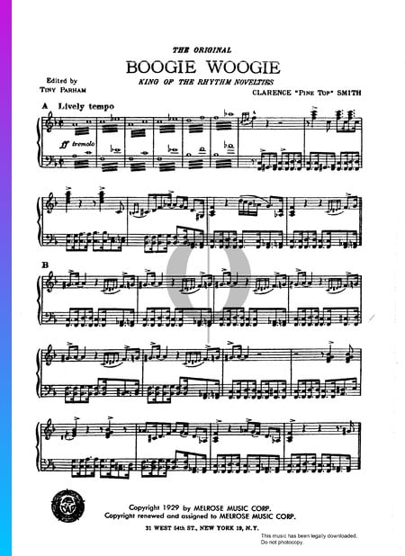 PineTop's Boogie Woogie Sheet Music