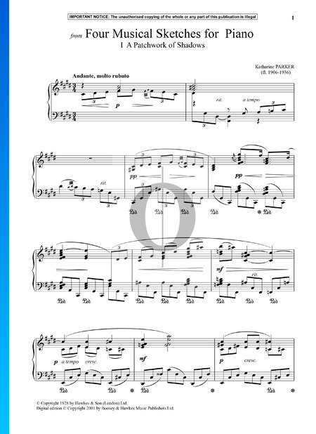 Four Musical Sketches for Piano: 1. A Patchwork Of Shadows Sheet Music
