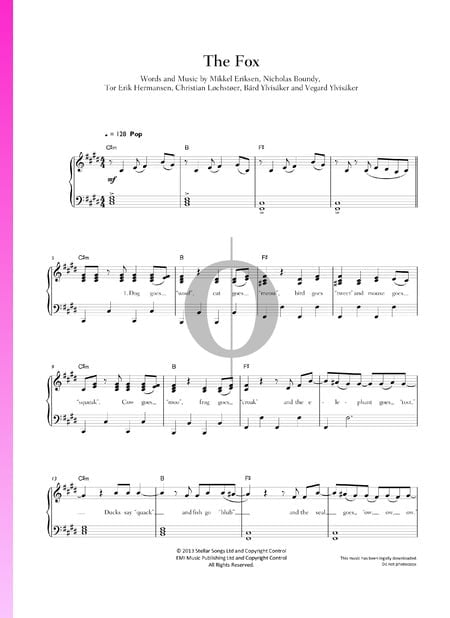 The Fox (What Does The Fox Say?) Sheet Music