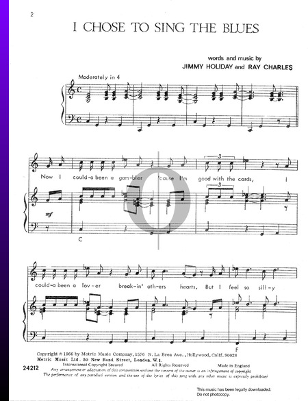 I Chose To Sing The Blues Sheet Music