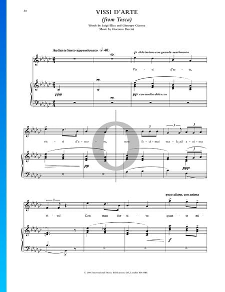 Vissi d'Arte Musik-Noten
