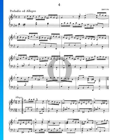 Preludio ed Allegro g-Moll, HWV 574 Musik-Noten