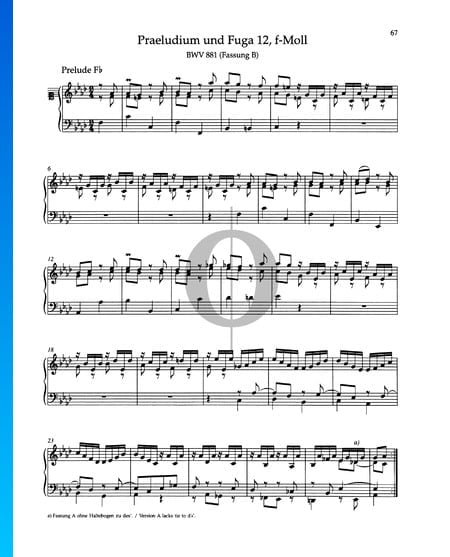 Prelude F Minor, BWV 881 Sheet Music