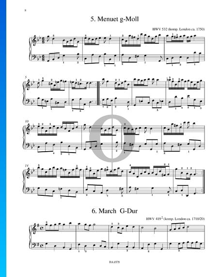 Menuet G Minor, HWV 532 Sheet Music