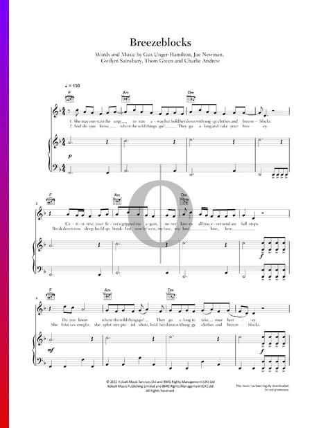 Breezeblocks Musik-Noten