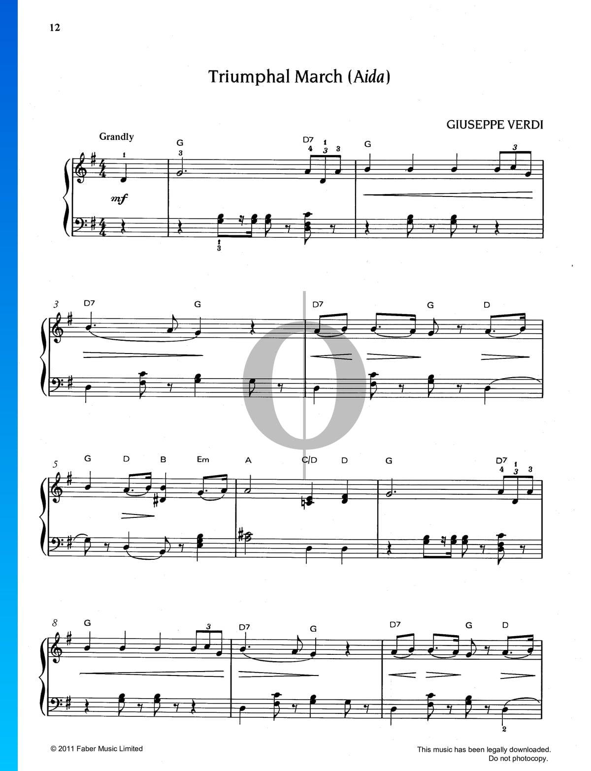 Marcha Triunfal Aída Partitura Piano Solo Descarga De Pdf Y Streaming Oktav
