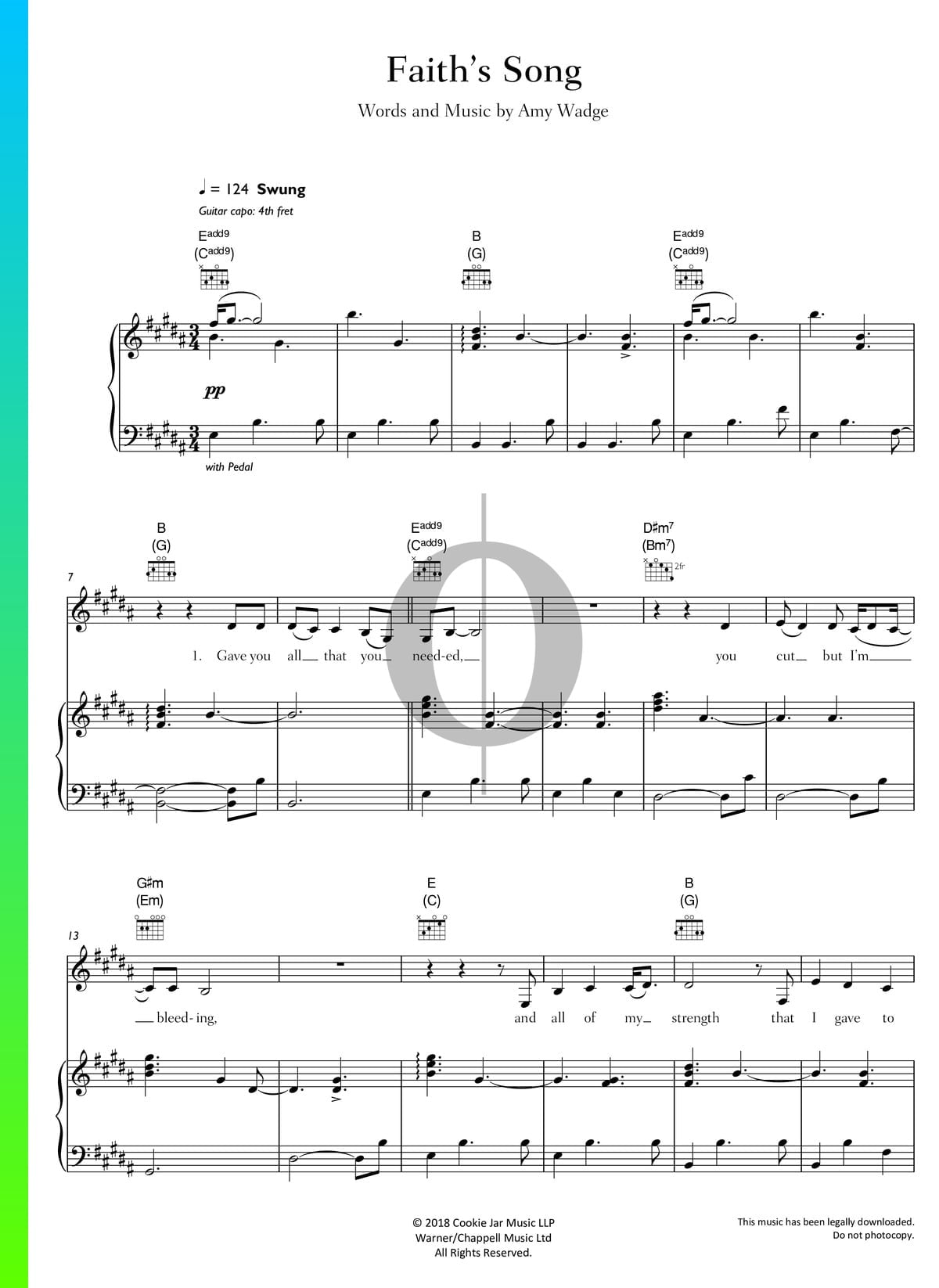 ▷ Faith's Song Sheet Music (Piano, Voice, Guitar) - PDF