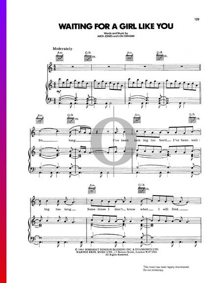 Waiting For A Girl Like You Sheet Music