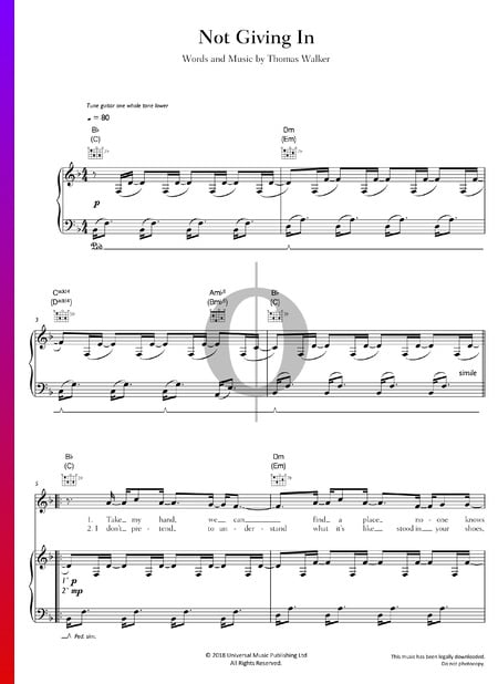 Not Giving In Sheet Music