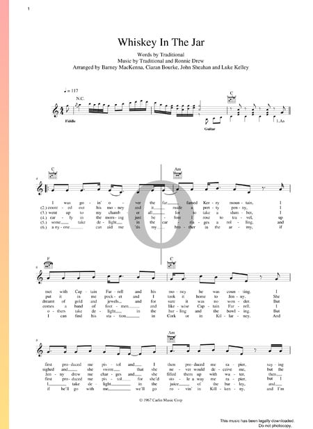Whiskey In The Jar Musik-Noten