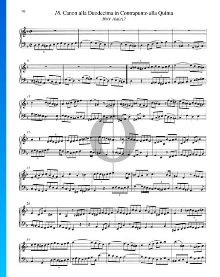 Canon alla Duodecima in Contrapunto alla Quinta, BWV 1080/17 Sheet Music