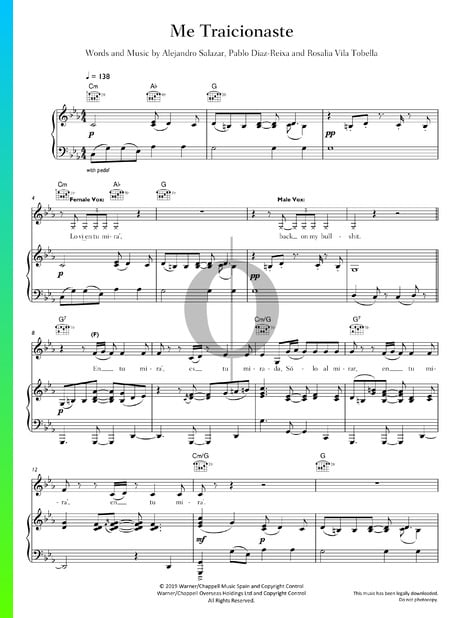 Me Traicionaste Sheet Music